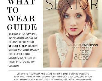 What to Wear Style Guide, Photography Template, Photoshop Template, Marketing Template, Senior Girls Marketing, WTG100G