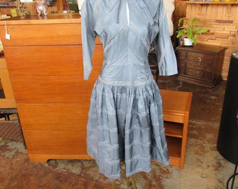 1950's Slate Blue Dress // Tea Length // Taffeta Swing Dress // Size Small // Vintage