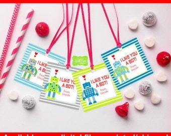Robot Valentine Tags - Robot Favor Tags - Valentines Day Gift Tags - Personalized Valentine Tags - Digital and Printed