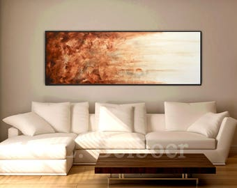 Large art original abstract painting panoramic art big brown modern abstract oil painting fine art by L.Beiboer