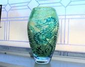 Kosta Boda Large Green Underworld Vase Sea Horses Signed Art Glass 10.25 Inches