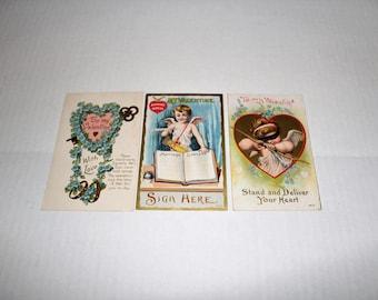 3 Antique Valentines Cards Postcards Circa 1910s