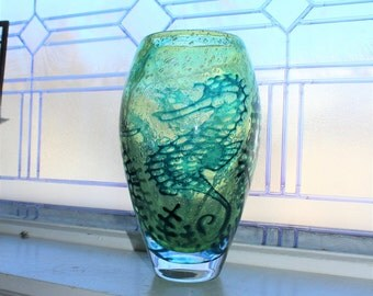 Kosta Boda Large Green Underworld Vase Sea Horses Signed Art Glass 10.25 Inches