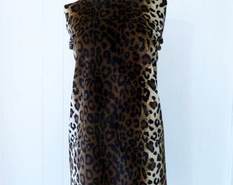 60's Cavewoman Costume Leopard Faux Fur Flintstone Beatnik Shift Mini Dress S