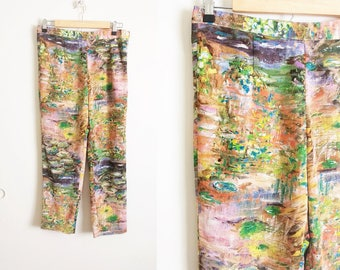 Vintage Brushstroke Pants Vintage Paint Pants Monet Pants Impressionist Pants Water Lily Pants Pedal Pushers Colorful Capris Painting