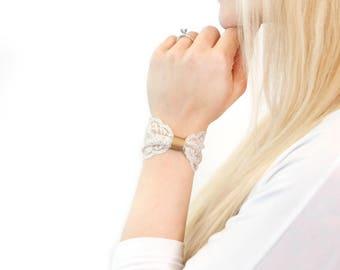 Gold Bow Bracelet, Lace Wrist Cuff Bracelet, Clothing Gift Beauty Gift White Lace Bow Bracelet Glitter Bracelet Bridal Wrist Tattoo Cover Up