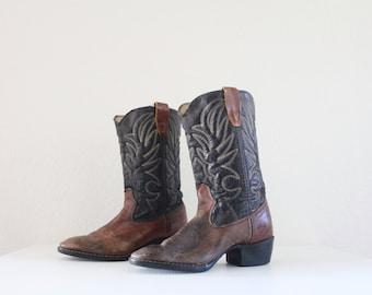 Vintage 70's Rustic Unisex Cowboy Boots Sz M/4 W/5.5