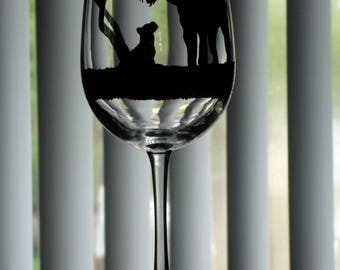 Hand painted Tiger and cub wine glass