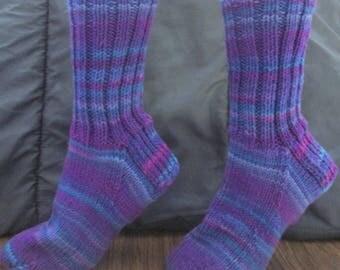 Hand Knit Adult Winter Socks- Grape Fizz