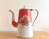 Antique French romantic hand decorated enamel coffee pot. Red over white, purple violet flower motif and gold piping.