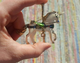 Vintage Unicorn Carousel Brooch Pin - Rhinestone and Enamel - Beautiful!