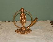 Antique Bronze Girl PEN HOLDER Desk Art Nouveau Cherub Rococo victorian Baroque Brass