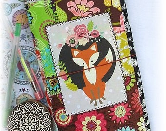 OOAK Fauxdori, Fox Midori, Fabric Collage Fauxdori, Traveler's Notebook, Free Insert!