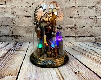 Steampunk Lamp Illumimated Assemblage Art