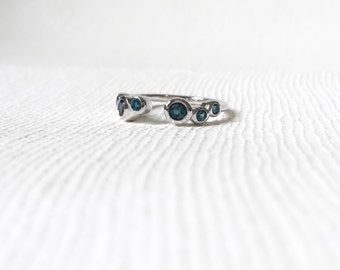 Sierra - Silver Stacking Ring, London Blue Topaz Ring, Gifts for her