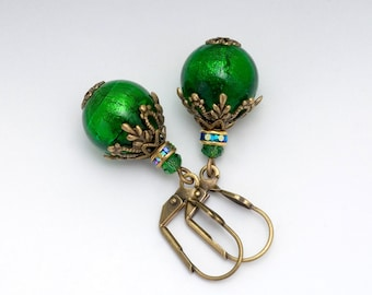 Emerald Green Murano Glass Earrings, Green Filigree Earrings, Green Venetian Glass Jewelry, Antiqued Brass Drop Earrings Dangle, Dorota