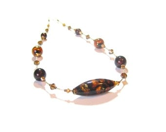 Murano Glass Brown Topaz Gold Filled Necklace, Italian Jewelry, Amber Glass Necklace, Glass Crystal Necklace, 24 Inch Necklace, Gift For Her