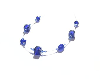 Murano Glass Cobalt Blue Cube Sterling Silver Illusion Necklace, Italian Jewelry, Venetian Glass Necklace, Gift For Her, Lampwork Necklace