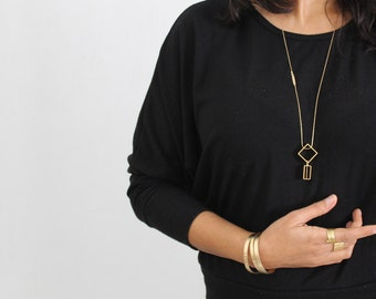 Movement necklace Rectangle geometric necklace Gold geometric pendant Long gold statement necklace Kinetic jewelry