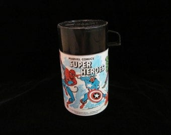 Vintage '80s Marvel Super Heroes Plastic Aladdin Thermos Featuring Spiderman, Captain America, the Hulk, Ironman, Thor