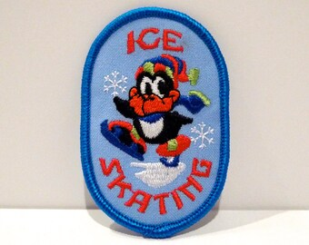 Ice Skating Patch Choose Style Vintage Ice Skate Theme Scout Fabric Patch Penguin Skate Boot Embroidered patch 90s Winter Holiday Christmas