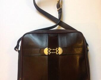 Vintage brown leather suede Bag Paris Gucci style Horse bit