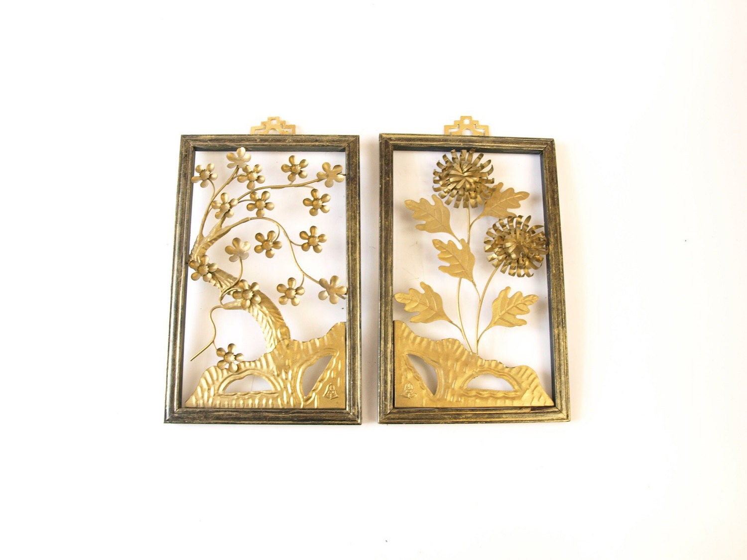 Pair of 2 vintage mid century gold wire framed flowers wall hangings ...