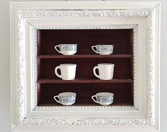 Vintage Shadow Box Frame White Shabby Chic Shelf