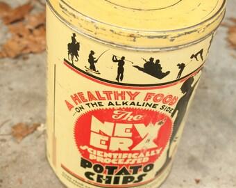 Vintage Potato Chips Tin, Vintage, Collectible, Antique, The New Era Scientifically Processed Potato Chips Tin