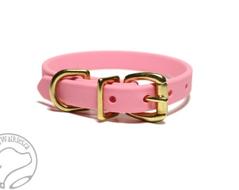 "Bubblegum Pink Biothane Dog Collar - 5/8"" (16mm) Wide - Leather Look and Feel - Small Dog Collar - Stainless Steel or Solid Brass Hardware"