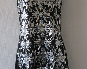 Floral Silver Sequin and Black Mini Dress