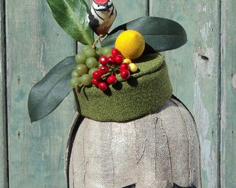 Tropical Pillbox Hat with Woodpecker