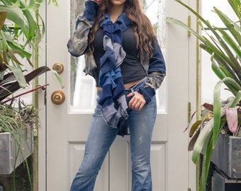 Cashmere Ruffle Scarf Blue One of a Kind Ready to Ship indigo shibori from Vintage Creations