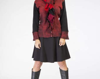 Cashmere Red Ruffle Scarf One of a Kind Ready to Ship hand dyed red reds from Vintage Creations