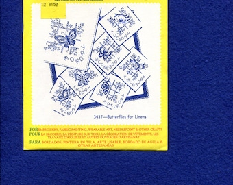 Aunt Martha 3437 Butterfly Tea Towel Days of the Week Embroidery Transfer UNCUT UNUSED