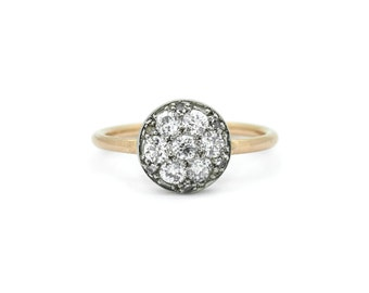 Diamond Pave Disc Ring - 18ct Rose Gold Edwardian Upcycled Ring