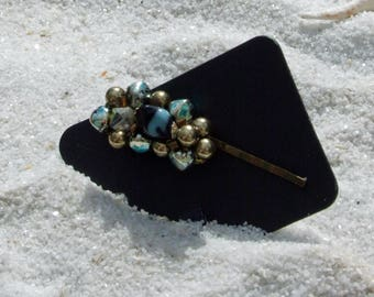 Hair Pins, Wedding Bobby Pins, Vintage Earrings, Vintage Bobby Pins, Beaded Hair Pins, Green Bobby Pins, Blue Bobby Pins, Hair Accessories