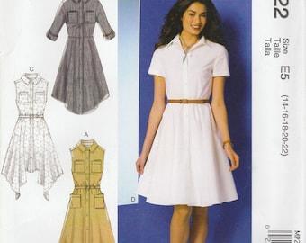 Sweet Shirtwaist Dress Pattern McCalls 7351 MP222 Sizes 14 - 22 Uncut