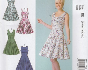 Lovely Fit & Flare Sundress Dress Pattern McCalls 7117 Sizes 14 - 22 Uncut
