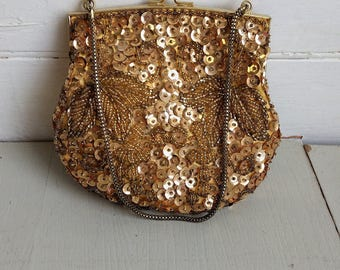 Vintage gold sequin bag, 1960s evening purse