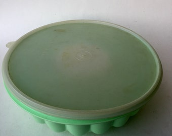 Vintage Lime Green Tupperware Jello Mold with Lid