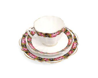 Vintage Teacup Trio 3 Piece Dessert Set Cup Saucer Plate Floral Design Tea Party Pink Floral Design European Porcelain.