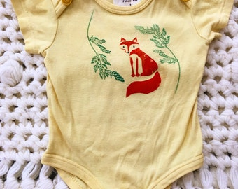 Natural Dyed Fox and Carrot Green Onesie
