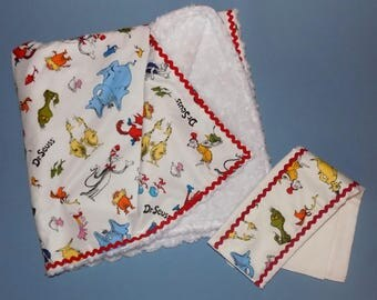 Handmade Dr. Seuss Blanket and Burp Cloth Set