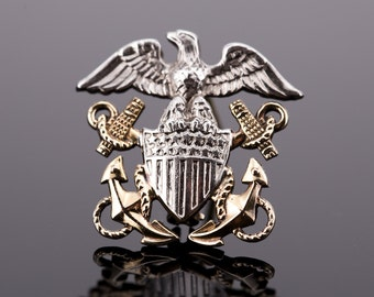 Vintage Miniature World War II Sterling and 10K Gold Filled United States Navy Officer's Garrison Cap Insignia Pin by Hillborn & Hamburger