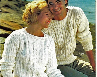Gloucester Worsted Weight Fashions By Bernat 4 Sweaters to Knit Pattern Book No 573
