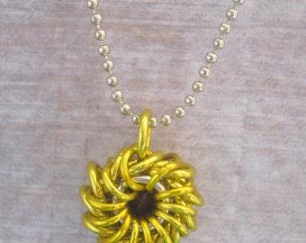 Sunflower Whirlybird Pendant Chain Maille Aluminum Jewelry
