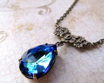 Art Nouveau Necklace Gothic Necklace Art Deco Necklace 1920s Necklace Navy Blue Necklace Blue Necklace Crystal Pendant- Twilight
