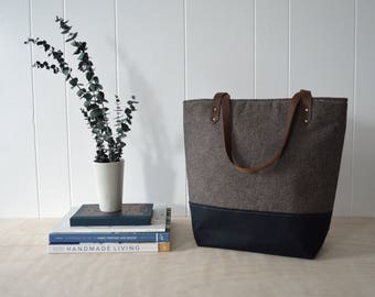 Large Tote Bag in Espresso Linen with Waxed Canvas
