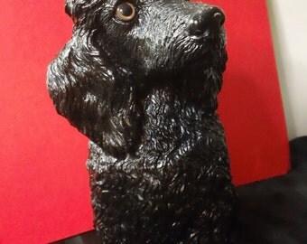 Vintage 1984 Universal Statuary Corp. model #323 ~ Black Poodle Dog statue